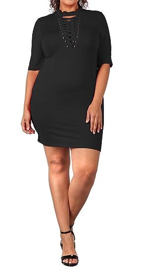 2ffbb0f63b9b0 eVogues Plus Size Mock Turtleneck Lace up Dress Black - 1X at Amazon ...
