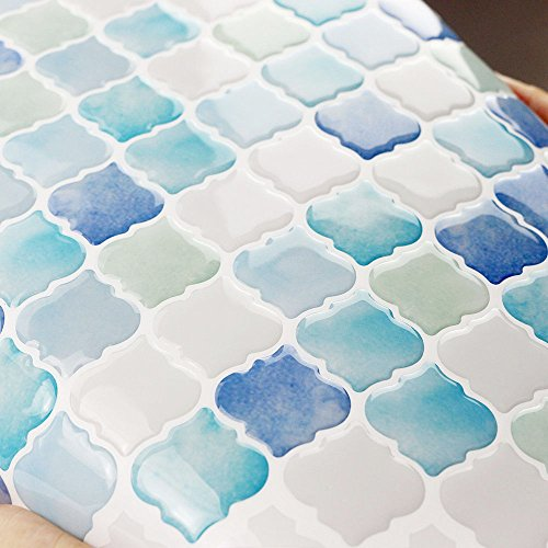 Peel and Stick Tile Backsplash Stick-on Self-Adhesive Sticky tile Wall Tiles for Kitchen and Bathroom By Dandy Homes (blue, 6 pack) by Dandy Homes