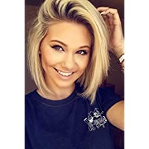 """Echo Beauty Look Natural Wig Short 14"""" Straight Bob Wig Black and Blonde Ombre No Bangs Wig Heat Resistant Synthetic Lace Wigs for Women"""
