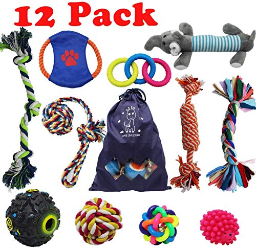 DIY House 12 Pack Dog Puppy Chew Toys Set Rope Toys for Dog Tug Dog Toy Pack with Ball for Small to Medium Dogs, Durable Dog Toys Teething