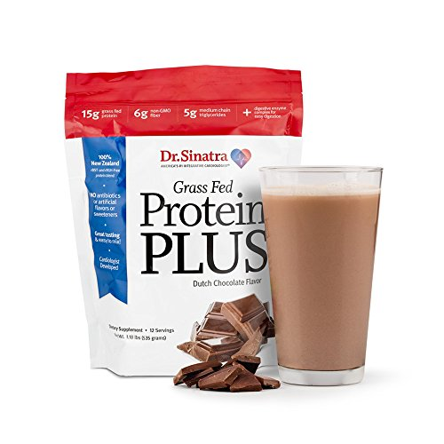 Dr. Sinatra's Grass Fed Protein Plus Delivers 15 Grams of 100% New Zealand Grass-Fed, Non-GMO, Hormone-Free Protein PLUS Fiber, Healthy Fats, & Digestive Enzymes. Chocolate (12-day supply)