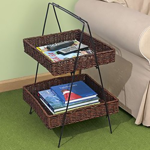 2 TIER SEAGRASS BASKET LADDER STAND Seagrass File Box