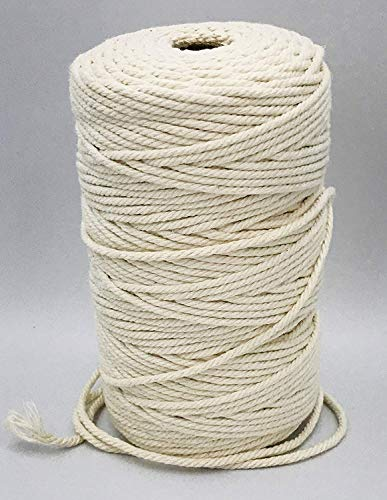 Ialwiyo 3mm 328ft Macrame Cotton Cord,Not Dyed,Natural Color Handmade Soft 4-Strand Cotton Cord Rope for Macrame,Wall Hanging,Plant Hanger,DIY Craft Making,Knitting,Home Decoration (3mm X 100m)