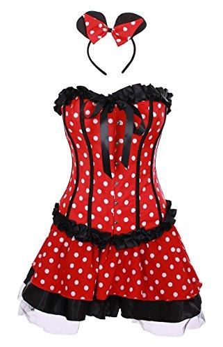 Punkte Corsage Schwarz weißen Rüschen Kleid mit schwarze und rot 7TwndqnRI