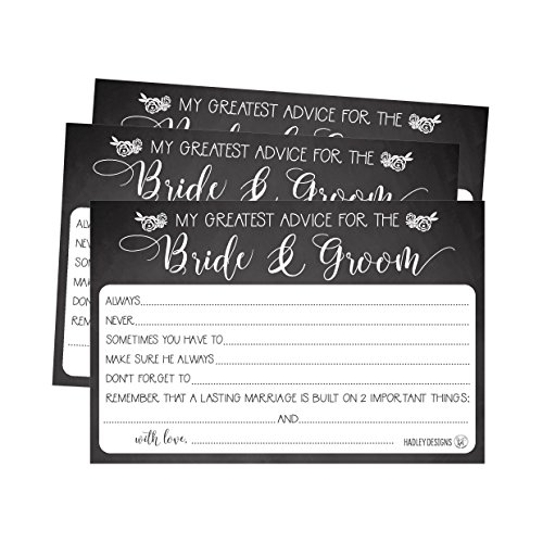50 4x6 Rustic Chalk Wedding Advice & Well Wishes For The Bride and Groom Cards, Reception Wishing Guest Book Alternative, Bridal Shower Games Note Card Marriage Best Advice Bride To (Wedding Reception Games)
