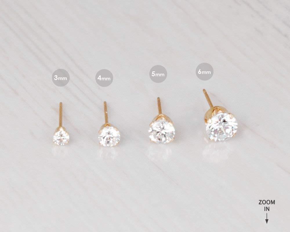 Gold Filled Zircon Diamond Stud Earrings Size 4mm Small CZ Post Earrings For Women