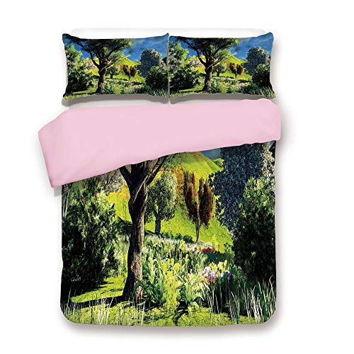 - Pink Duvet Cover Set,Queen Size,Rural Scenery Wilderness Forest Various Kinds of Trees Botanical Garden Image,Decorative 3 Piece Bedding Set with 2 Pillow Sham,Best Gift For Girls Women,Green Blue Whi