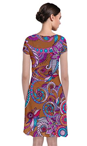 Brown Wrap Floral Womens Dress Short Paisley CowCow Front Paisley Sleeve W6aYqqn8Z
