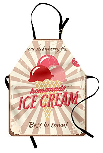 Ambesonne Ice Cream Apron, Vintage Style Sign with Homemade Ice Cream Best in Town Words Print, Unisex Kitchen Bib Apron with Adjustable Neck for Cooking Baking Gardening, Red -
