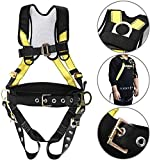 YaeCCC Safety Harness Fall Protection Full Body Construction Harness with Side D-Rings, Belt and Additional Padding