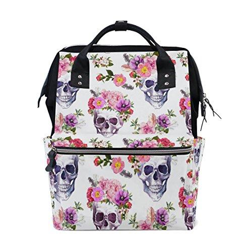 WOZO Watercolor Flower Sugar Skull Multi-function Diaper Bags Backpack Travel Bag by WOZO