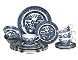 Churchill Blue Willow Plates Bowls Cups 20 Piece Dinnerware Set, Made In England
