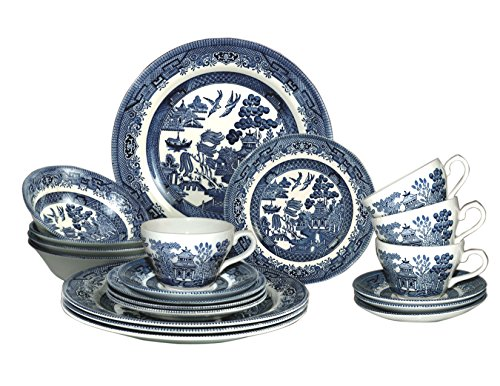 (Churchill Blue Willow Plates Bowls Cups 20 Piece Dinnerware Set, Made In England)