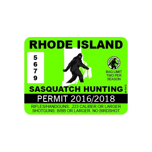 Rhode Island Sasquatch Hunting Permit - Color Sticker - Decal - Die Cut