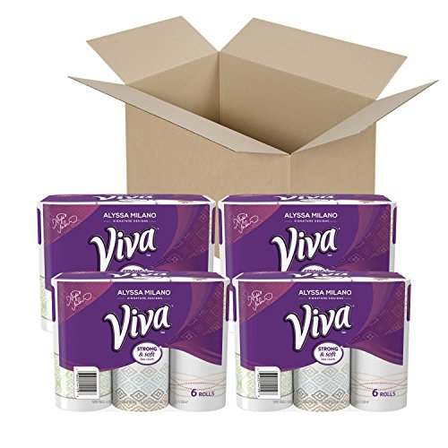 VIVA Signature Designs Full Sheet Paper Towels, Print, Big Roll, 24 Rolls