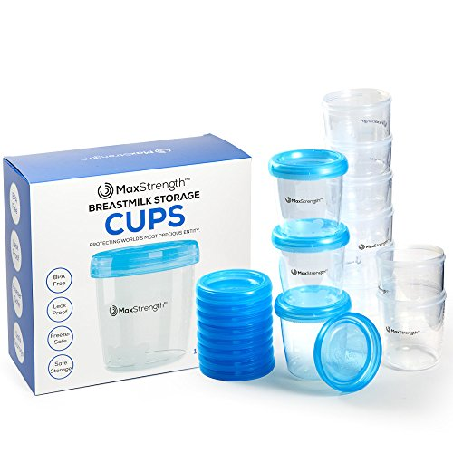 Breastmilk Storage Containers 12pc Set with Leak Proof Lids By Max Strength Pro, 6.oz 180ml Reusable Breast Milk Cups, Best for Collection & Storage Solution, BPA Free Pots, Freezer & Dishwasher Safe