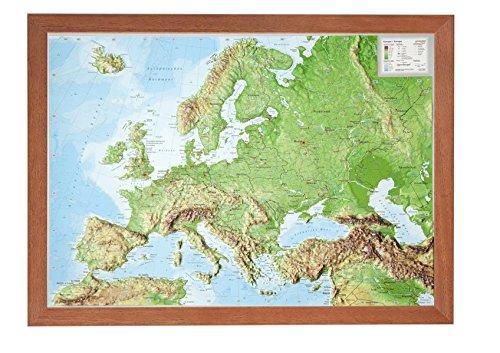 Europa Klein 1 16.000.000 Mit Rahmen  Reliefkarte Europa Klein Mit Holzrahmen