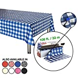Neatiffy 54 Inch x 108 Feet Thick Plastic Table Cloth Roll Party/Banquet, Durable Table Cover (Reusable/Disposable) Tablecloths for Rectangle/Round/Square Tables, 12 Picnic Pack (Blue checkered)