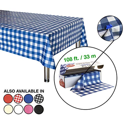 Cut Round Tablecloth - Neatiffy 54 Inch x 108 Feet Thick Plastic Table Cloth Roll Party/Banquet, Durable Table Cover (Reusable/Disposable) Tablecloths for Rectangle/Round/Square Tables, 12 Picnic Pack (Blue Checkered)