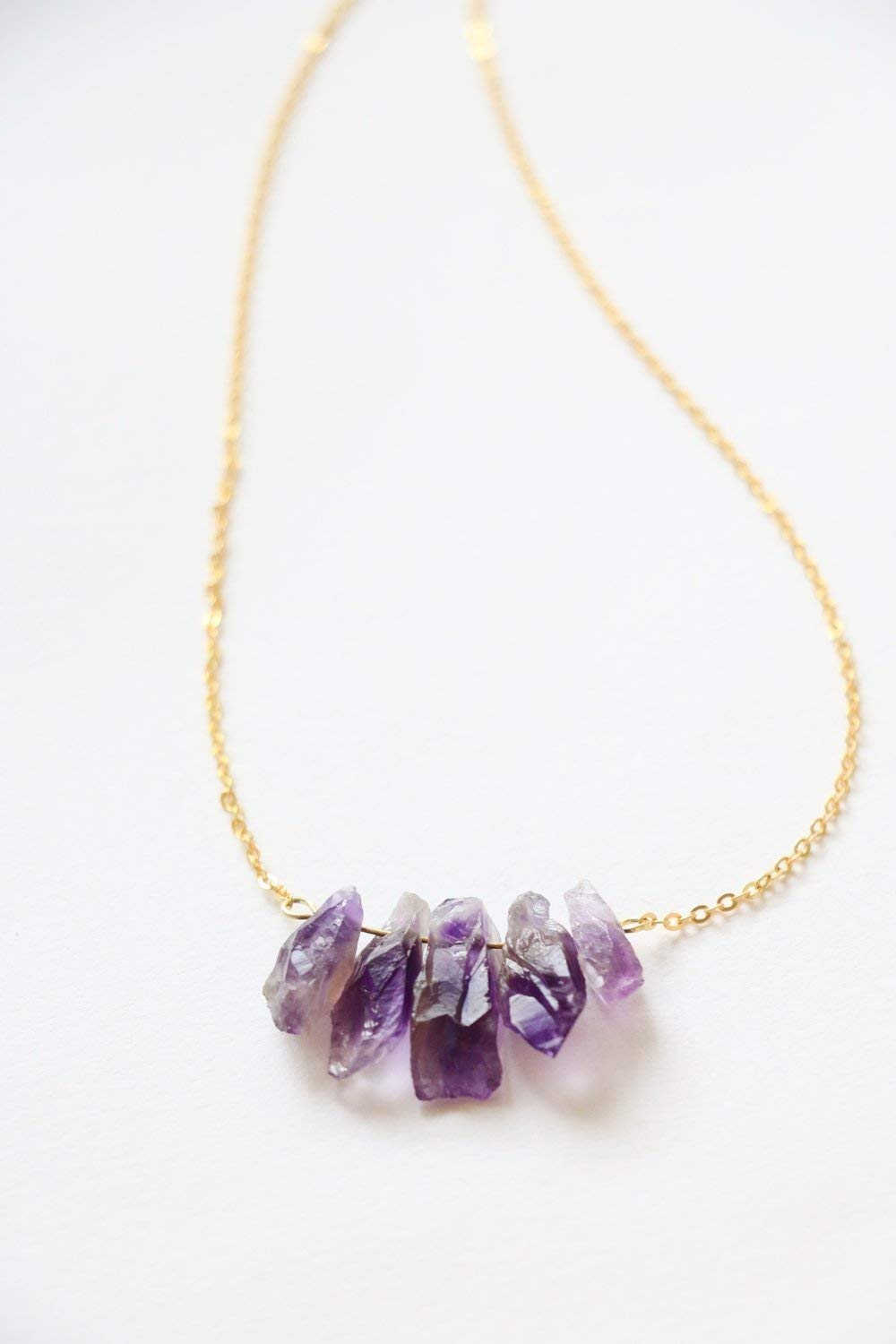 e563442ac50ad Amazon.com: Amethyst Necklace Raw crystal necklace natural crystal ...