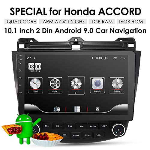 10.1 Inch 16GB Android 9.0 Car Audio GPS Navigation for Honda Accord 7 2003-2007 Head Unit A/C Control 1080P Video Bluetooth Mirror Link