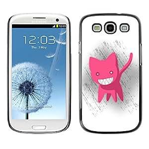 QCASE / Samsung Galaxy S3 I9300 / animación gato rosado grandes dientes blancos mal sonrisa / Delgado Negro Plástico caso cubierta Shell Armor Funda Case Cover