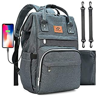 Diaper Bag Backpack, PIANIST Large Baby Bag with Portable Changing Pad and USB Charging Port Multi-functional Waterproof Stylish Travel Back Pack Unisex Nappy Bag for Boys Girls Mom Dad (Dark Grey)