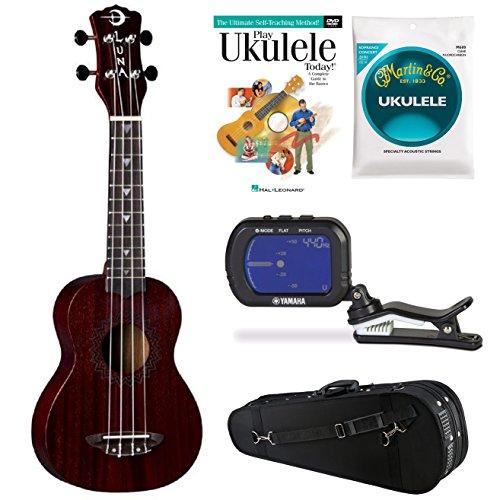 Luna Vintage Mahogany Soprano Red Satin Uke w/Knox Case, Strings, DVD & Tuner