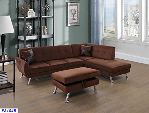 Beverly Fine Furniture SH3104B Sectional Sofa Chaise Set, Chocolate Brown