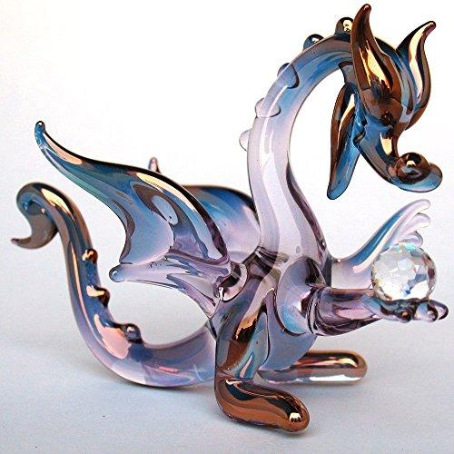 Purple Dragon Figurine of Hand Blown Glass