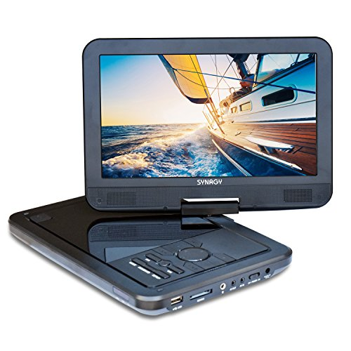 SYNAGY 10.1inch Portable DVD Player CD Player (Black) (12 Volt Cd Player Portable)