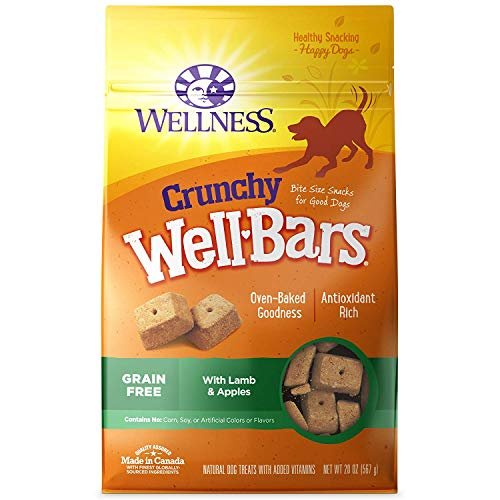 Wellness Natural WellBars Crunchy Dog Treats Lamb Apples, 20-Ounce Bag 2 Pack