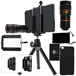 iPhone 6 Plus Camera Lens Kit including an 8x Telephoto Lens / Fisheye Lens / 2 in 1 Macro Lens and Wide Angle Lens / Mini Tripod / Universal Phone Holder / Hard Case for Apple iPhone 6 Plus / Velvet Phone Bag / CamKix Microfiber Cleaning Cloth - Awesome
