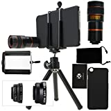 CamKix Camera Lens Kit for iPhone 6 Plus / 6S Plus including an 8x Telephoto Lens / Fisheye Lens / 2in1 Macro and Wide Angle Lens / Tripod / Phone Holder / Hard Case / Velvet Bag / Cleaning Cloth (Black)