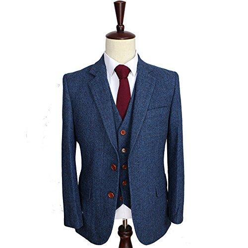 Classic 3 Pieces Vintage Blue Tweed Herringbone Wool Tailored Slim Fit Wedding Men Suits