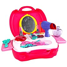 Hierkryst Kids Accessories Pretend Beauty Play Makeup Set Girls Pretend Play Makeup Toy Set with Cosmetic,Mirror,Hair Dryer