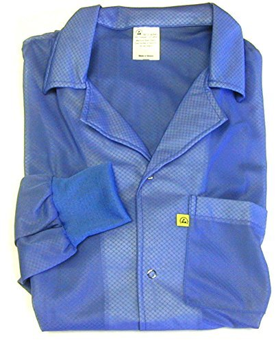 Certified Level 3 Static Shielding TT/_JKC8806LB Anti-Static Lab Coat 2XLarge ESD Smocks with High ESD Protection Light Blue StaticTek Full Sleeve Knit Cuff ESD Jacket Light Weight