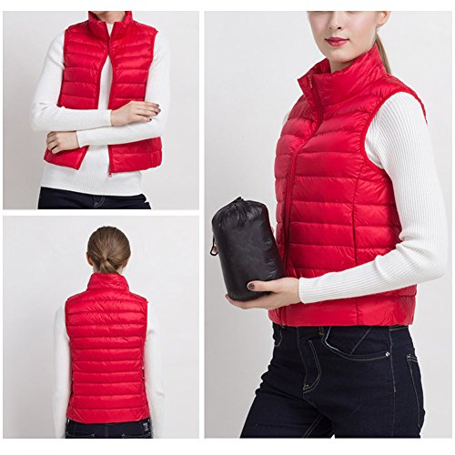 Laixing Buena Calidad Women's Simple Packable Down Vest Stand Collar Zip Up Front Winter Vest Red