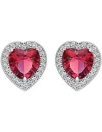 Women 925 Sterling Silver Wedding Bride Love Halo Heart Shape Austrian Crystal Stud Earrings 10mm