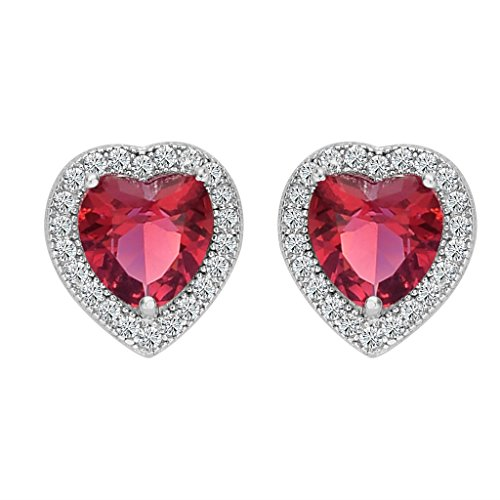 BriLove Women 925 Sterling Silver Heart Stud Earrings Wedding Bride Love Halo Austrian Crystal Earrings Ruby Color July Birthstone