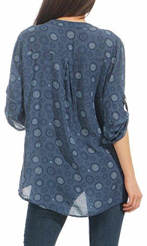 Loose than 4 Taille V 6703 3 avec Haut fashion Blouse Oversize Tunique Neck Bleu Unique more Malito malito Femme 7qw5FSn
