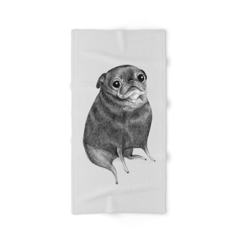 Society6 Bath Towel, 64'' x 32'', Sweet Black Pug by sophiecorrigan