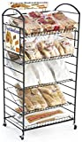 Displays2go, Bakers Stand with 5 Shelves, Wrought Iron Style Mild Steel Construction – Black (BAK5FRBK)