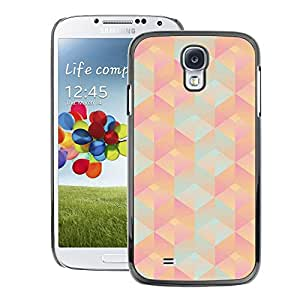 A-type Arte & diseño plástico duro Fundas Cover Cubre Hard Case Cover para Samsung Galaxy S4 (3D Polygon Pattern Peach Pink Teal)