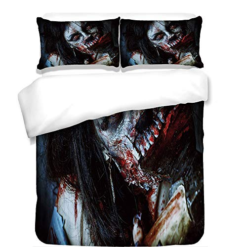 iPrint 3Pcs Duvet Cover Set,Zombie Decor,Scary Dead Woman with Bloody Axe Evil Fantasy Gothic Mystery Halloween Picture,Multicolor,Best Bedding Gifts for Family/Friends for $<!--$108.89-->