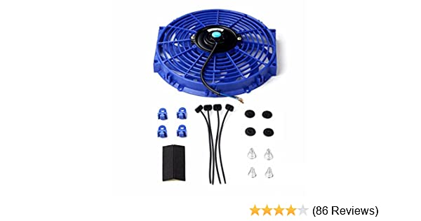 10″ Universal Slim Fan Push Pull Electric Radiator Cooling 12V+Mount Kit BLUE