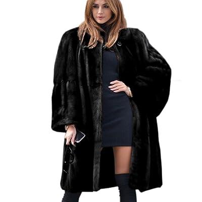 Aofur Luxury Faux Fur Parka Coat Long Lapel Trech Jacket Winter Outerwear Warm Overcoat Women Size S-XXXL at Women's Clothing store