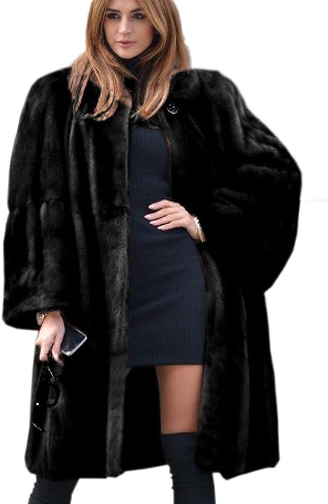 Aofur Abrigo Informal de Piel sintética Gruesa para Mujer, Abrigo de Invierno cálido, Chaqueta Larga Parka Overcoat Talla 8 – 20