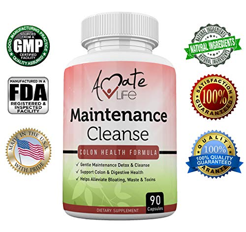 (Amate Life Colon Maintenance Colon Cleanse Support Supplement - Daily Maintenance Detox Formula- Bloating & Constipation Relief Laxative with Psyllium Husk, Aloe Vera, Black Walnut Hull - 90)