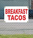 BREAKFAST TACOS 2×3 Red Banner Sign For Sale